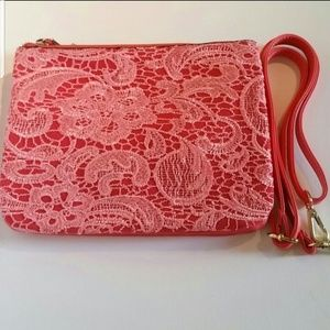 Coral Pink Lace Crossbody Bag